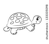 Cartoon Turtle. Outlined....