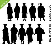 graduate silhouettes vector | Shutterstock .eps vector #133338230