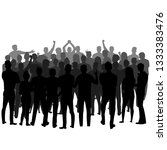 a crowd of people standing... | Shutterstock .eps vector #1333383476
