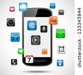 smartphone with floating apps   ... | Shutterstock .eps vector #133345844