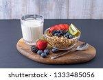 close up breakfast of granola... | Shutterstock . vector #1333485056