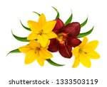 flowers lilies yellow and... | Shutterstock . vector #1333503119