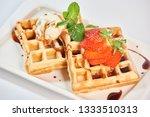 belgian waffles with...   Shutterstock . vector #1333510313