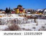 Small photo of ULAN-UDE, RUSSIA - MARCH 7, 2010: Devazhin dugan (buddhist temple) at Khambyn Khure datsan (buddhist monastery) in Verkhnaya Beryozovka district of Ulan-Ude, Buryatia. The datsan was founded in 1994.
