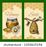honey waxing bee and beehive... | Shutterstock .eps vector #1333615196