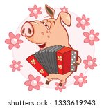 illustration of a cute pig.... | Shutterstock . vector #1333619243