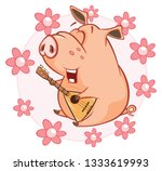 illustration of a cute pig.... | Shutterstock . vector #1333619993