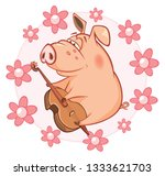 illustration of a cute pig.... | Shutterstock . vector #1333621703