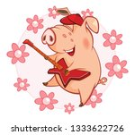 illustration of a cute pig.... | Shutterstock . vector #1333622726