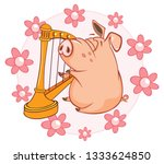 illustration of a cute pig.... | Shutterstock . vector #1333624850