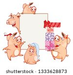 illustration of a cute pig.... | Shutterstock . vector #1333628873