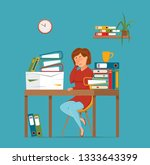 woman busy tired working on... | Shutterstock .eps vector #1333643399