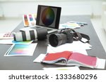 closeup.the camera and sketches ... | Shutterstock . vector #1333680296
