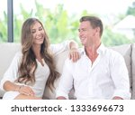 portrait of nice young couple... | Shutterstock . vector #1333696673