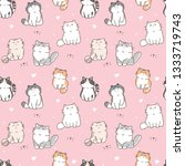 Stock vector seamless pattern of cute cartoon cat design on pink background 1333719743