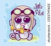greeting card cute cartoon cat... | Shutterstock .eps vector #1333745603