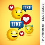 emojis yellow round face and... | Shutterstock .eps vector #1333766639