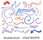 hand drawn colorful arrows set. ... | Shutterstock . vector #1333785599