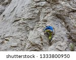 young man climbing on a wall | Shutterstock . vector #1333800950