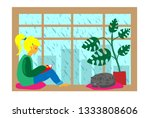 Stock vector girl read book on window rainy day 1333808606