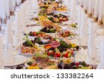 catering table set service with ... | Shutterstock . vector #133382264