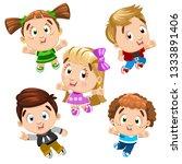 cute boys and girls dancing ... | Shutterstock .eps vector #1333891406