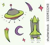 cute cartoon green  purple ... | Shutterstock .eps vector #1333922243
