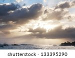 Diving boats on the sea and the sunset. - stock photo