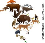 vector north america fauna map  ... | Shutterstock .eps vector #1333962206