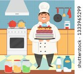flat cartoon character chef... | Shutterstock .eps vector #1333965299