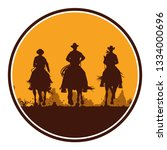 silhouette of cowboys riding... | Shutterstock .eps vector #1334000696