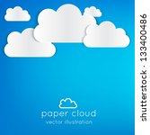 paper clouds illustrated... | Shutterstock .eps vector #133400486