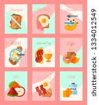 breakfast concept set of cards... | Shutterstock .eps vector #1334012549
