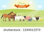 farm domestic animals banner... | Shutterstock .eps vector #1334012573