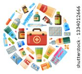 medicine round pattern vector... | Shutterstock .eps vector #1334012666