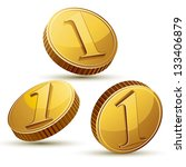 Coin Icon Set Isolated On Whit...