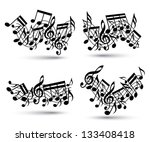 musical notes staff set. black... | Shutterstock .eps vector #133408418