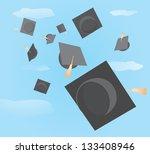 graduation caps tossed up | Shutterstock .eps vector #133408946