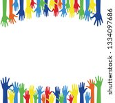 colorful raise up hands... | Shutterstock .eps vector #1334097686