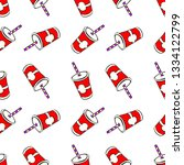 milkshake. cartoon print.... | Shutterstock .eps vector #1334122799
