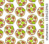pizza. cartoon print. seamless... | Shutterstock .eps vector #1334123963