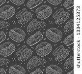 fast food. hamburger  hot dog ... | Shutterstock .eps vector #1334125373