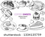 coffee shop menu design. hand... | Shutterstock .eps vector #1334135759
