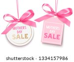 mothers day sale tag with pink... | Shutterstock .eps vector #1334157986