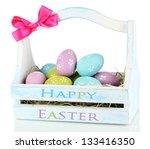 easter eggs in wooden basket...   Shutterstock . vector #133416350