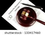 divorce decree and wooden gavel ... | Shutterstock . vector #133417460