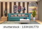interior of the living room. 3d ... | Shutterstock . vector #1334181773
