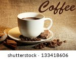 cup of coffee and beans ... | Shutterstock . vector #133418606