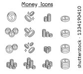 money   coin icon set in thin... | Shutterstock .eps vector #1334190410