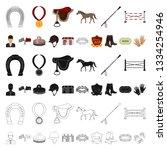 hippodrome and horse cartoon... | Shutterstock . vector #1334254946